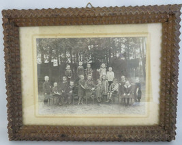 WWI German picture photo Children school black forest wood carved frame ... - $120.00