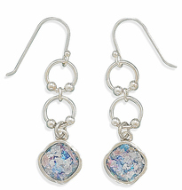 Sterling Silver Ancient Roman Glass Drop Earrings on French Wire - $129.99