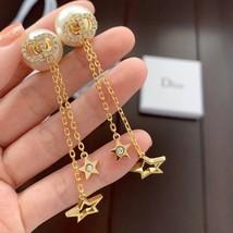 Authentic Christian Dior 2019 CD LOGO CHAIN STAR DANGLE DROP Earrings image 7