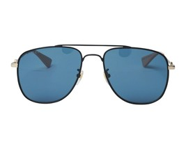 New Gucci Sunglasses GG0514S 003 Black Gold/Blue Lens Authentic 57mm - $261.90