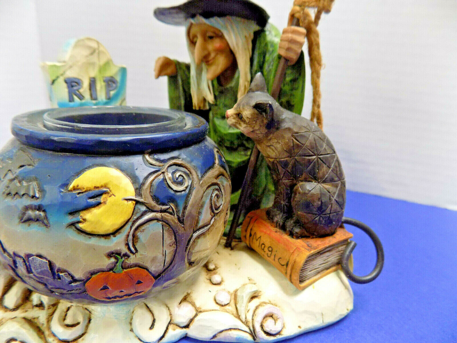 Jim Shore HALLOWEEN WITCH CAULDRON TEALIGHT RIP 4006317 Heartwood Creek Enesco