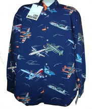 Love Moschino Navy Airplane Logo Men's Shirt Size L Cotton Classic Fit NEW - $122.26