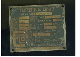 VINTAGE ELLIOT COMPANY JEANETTE PA  TURBINE MACHINE PLAQUE - $24.00