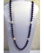 VINTAGE HANDCRAFT GEMSTONE AA AMETHYST 10mm KNOTTED Cuture pearl Necklac... - $79.95