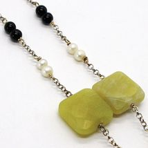 SILVER 925 NECKLACE, ONYX BLACK, JASPER GREEN, PEARLS, WITH HANGING CHARM image 4