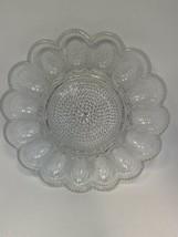 """Vintage Indiana Crystal Clear Hobnail Glass 11"""" Deviled Egg Serving Dish... - $11.48"""