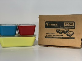 Vintage New Old Stock Pyrex Primary Colors Refrigerator SET 8 Piece - $222.75