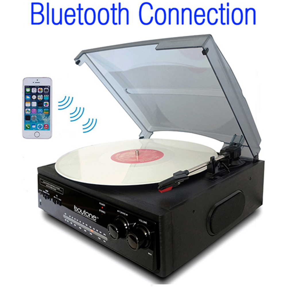 Boytone BT-13B with Bluetooth Connection 3-Speed Stereo Turntable Belt Drive 33/