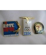 1996 Atlanta Olympics Lot of 3 Sponsor Pins Gymnastics Avon IBM John Han... - $30.00