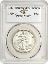 1939-D 50c PCGS MS67 ex: D.L. Hansen - Walking Liberty Half Dollar - $2,182.50