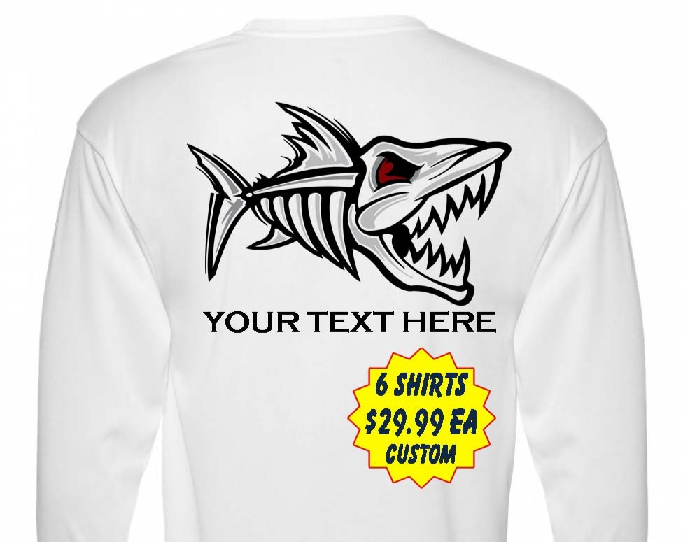 6 Personalized Custom Front & Back Printed Dri Fit Longsleeve Fishing Sun ShirtI