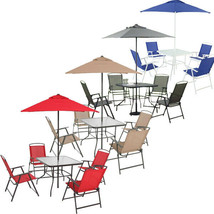 Umbrella Dining Set Outdoor Lawn Garden Folding Furniture Patio Table Set - $123.98