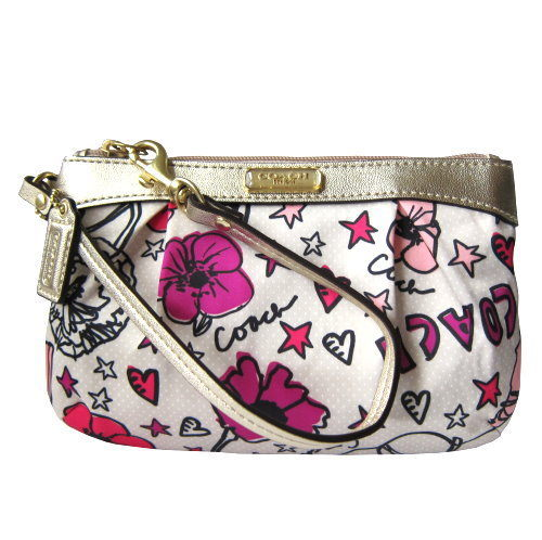 Primary image for COACH Kyra Floral Print Pleated Medium Wristlet NWT 47303