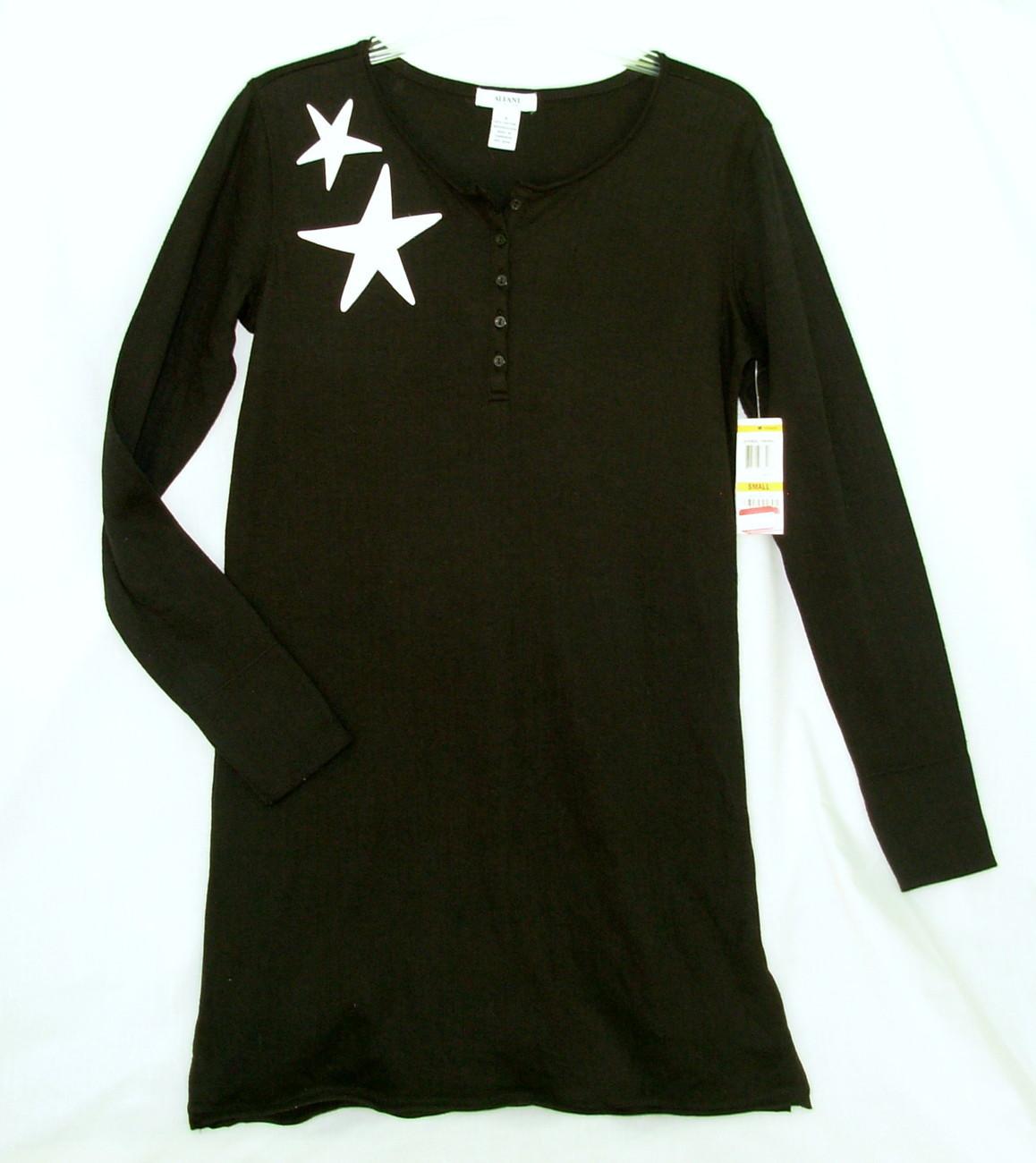 new ALFANI sz S Sleepshirt Nightgown Black w White stars deer Small cotton blend Alfani