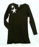 new ALFANI sz S Sleepshirt Nightgown Black w White stars deer Small cott... - $18.00