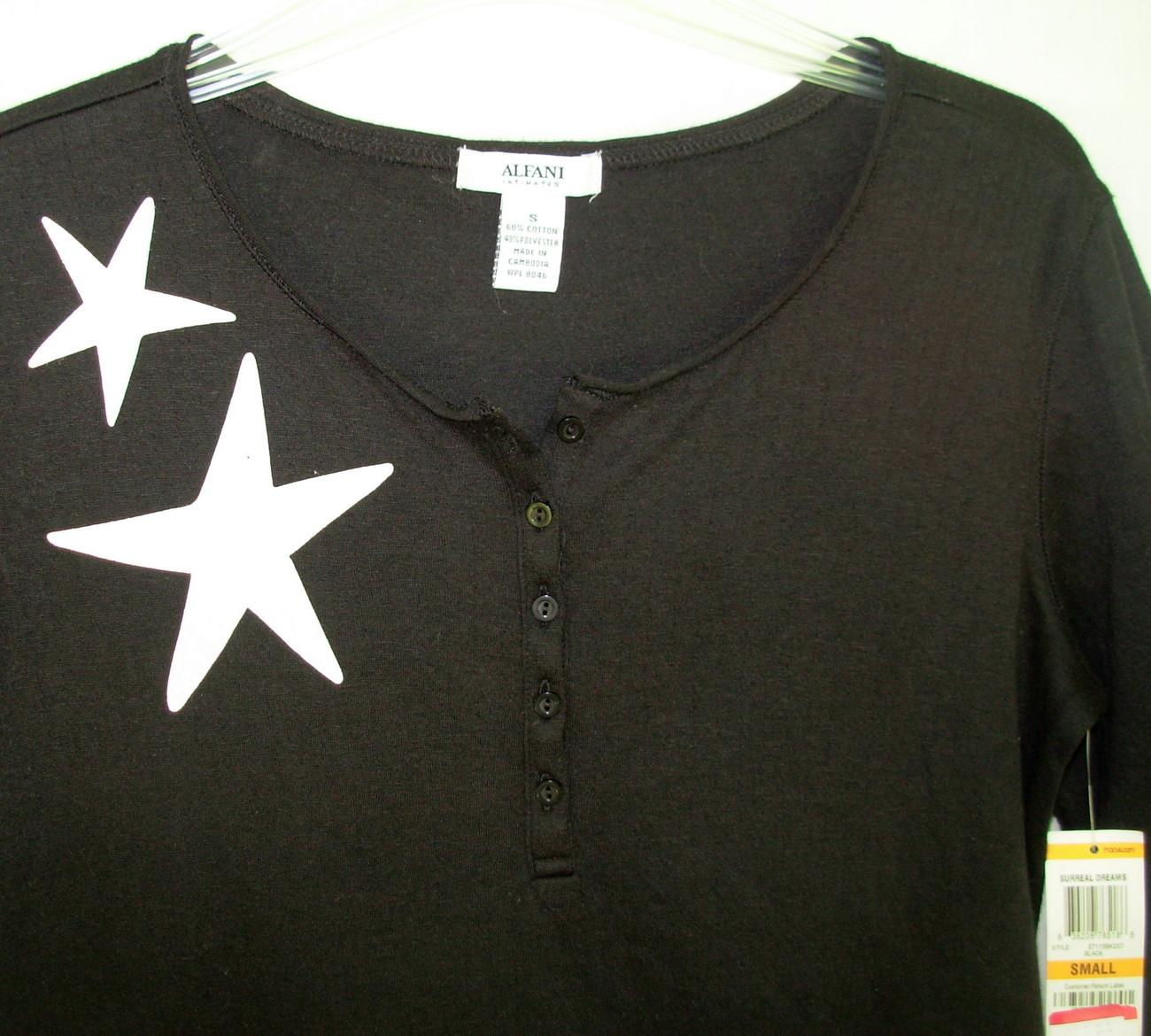 new ALFANI sz S Sleepshirt Nightgown Black w White stars deer Small cotton blend