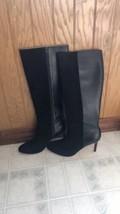 Ann Taylor Josie Sz 8 M Black Leather Ext Calf High Boots Leather Stilet... - $139.89