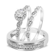 14k White Gold Over 925 Sterling Solid Silver Mens Womens Wedding Trio Ring Set - $152.99