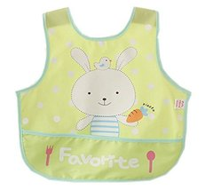 Lovely Cartoon Rabbit Waterproof PVC Feeding Baby Bibs Yellow