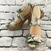 H&M Tropical Floral Fabric Peep Toe Strappy Cork Platform Heels 9.5 - $19.79