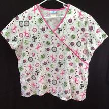 Scrubs Scrub Top Size 2X Pink Gray Green Hope Heal Love Short Sleeve Pol... - $14.82