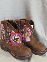 Justin Gypsy Girls Pink Camo Aged Bark Boots Cowgirl 12 D - $58.04