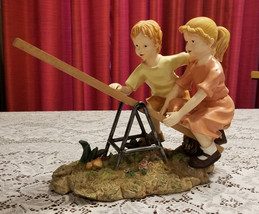 """Children on Tetter Totter See Saw Statue 10.5"""" High x 13"""" Wide Figurine  - $34.99"""