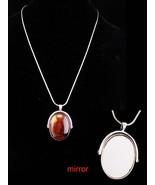 Flip Mirror necklace / agate cabochon / 2 sided compact / vintage pendan... - $85.00