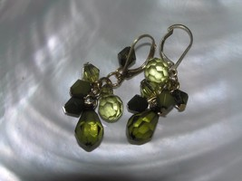 Estate Lightweight Plastic Earthtone Sage Green Bead Dangle Earrings for... - $8.59