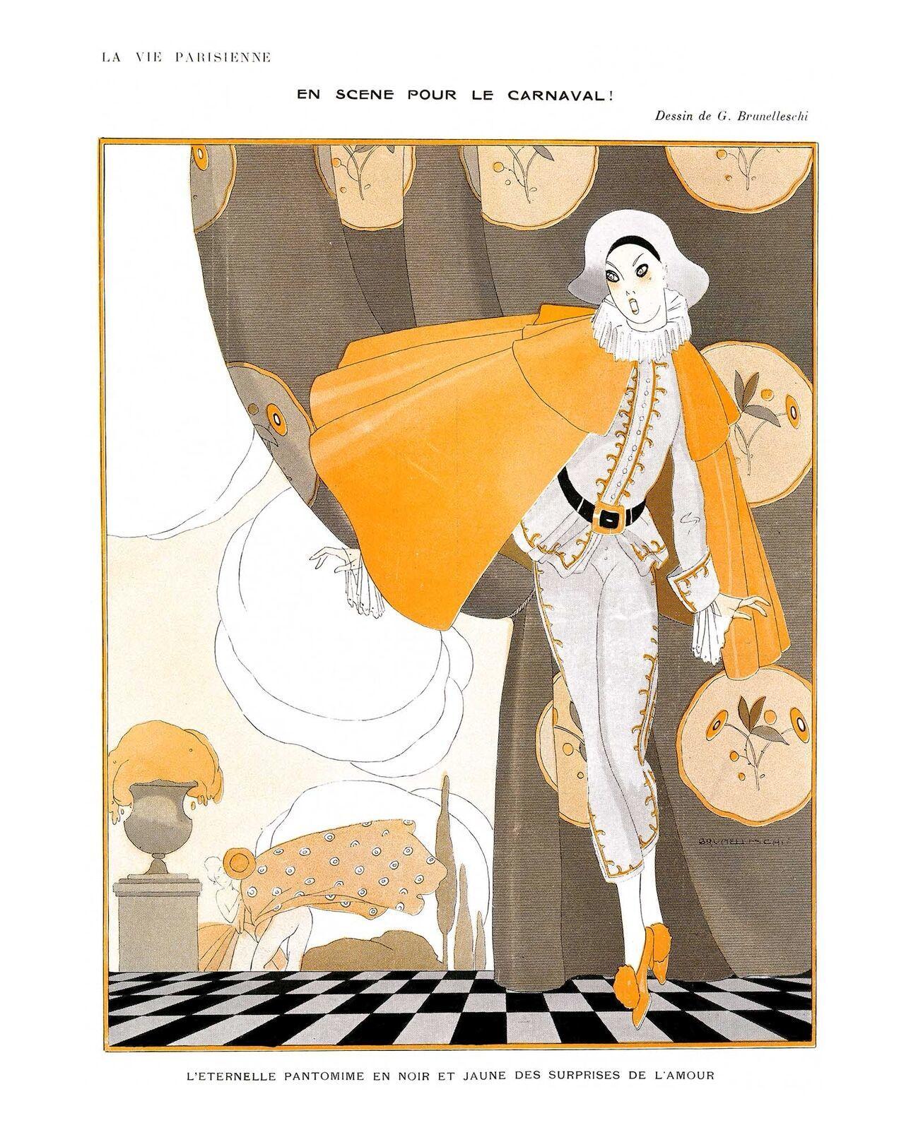 French Pinups: La Vie Parisienne - Girl in Cape - Brunelleschi - 1914 - $12.95 - $19.95