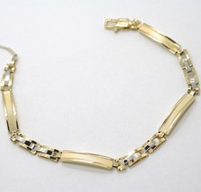 18K WHITE YELLOW GOLD BRACELET WORKED PLATE ALTERNATE STRIPED SQUARE CURVED LINK image 1