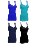 Women's 4 Pack Camisole Adjustable Strap Lace Trim Long Spaghetti Tank T... - $17.99