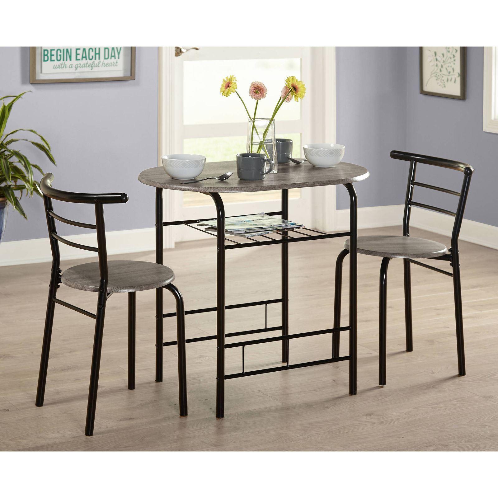Black Pub Dining Set: Black Gray 3 Pc Dining Table Set Chairs Kitchen Bistro