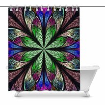 InterestPrint Multicolor Beautiful Fractal Flower In Stained Glass Windo... - $30.68