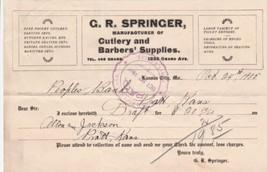 U.S. G.R. Springer Kansas 1905 Manfs Cutlery & Barber Sup. Paid Invoice ... - $7.55