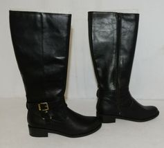 Soda HIROS Black Zip Up Riding Boot Gold Colored Accents Size 6 And Half image 3