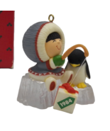 1984 Frosty Friends Hallmark Ornament Original Box Fishing Penguin 5th i... - $18.59