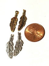 Feather Charm Fine Pewter Charm Pendant  6.5mm L x 23mm W x 2mm D image 2