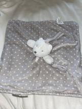 Blankets & Beyond Bear Grey White Polka Dot Lovey Lovie Pacifier Holder ... - $15.83