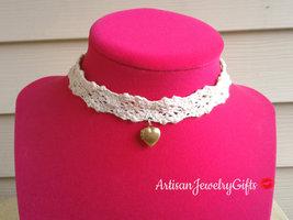 Tiny Heart Locket Ivory Lace Choker Necklace Tiny Gold Heart Locket Vint... - $37.00