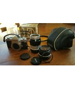 Nikon Chrome Nikkormat FT 35mm Camera Body with 2 lenses 28mm and 135 mm - $247.50