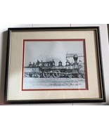 """Train Engine Art Print, Black and White, Matted in Frame, Size 12x15"""" - $21.04"""