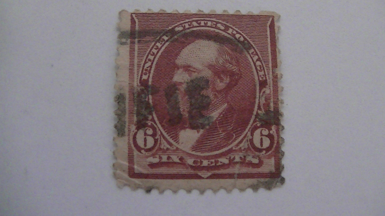Brown Red Vintage USA Used 6 Cent Stamp