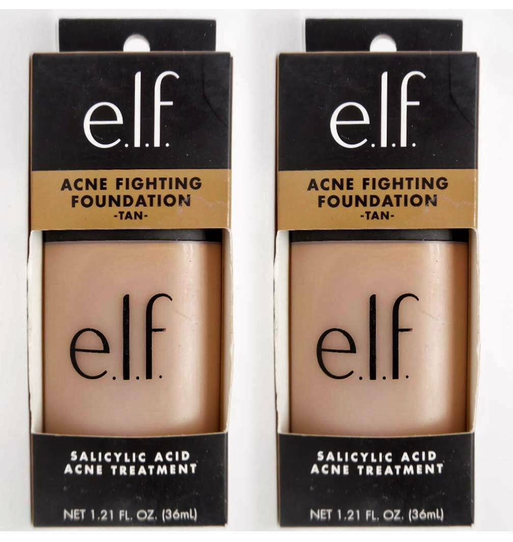 Primary image for (2) e.l.f. Acne Fighting Foundation TAN #83124 Salicylic Acid 1.21 oz,  EXP 2022