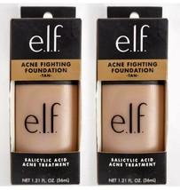 (2) e.l.f. Acne Fighting Foundation TAN #83124 Salicylic Acid 1.21 oz,  ... - $14.98