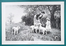 "RUSTIC IDYLL Mother Daughter Feed Baby Lambs - Victorian Era Print 14.5""... - $25.20"