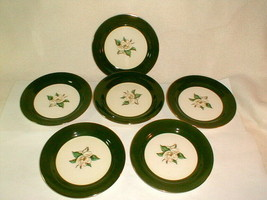 Homer laughlin jade rose green dessert plates 7 pc VG vintage - $35.00