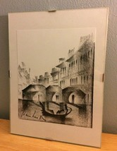 Vtg Original Cubist Charcoal Drawing Venice Italy Gondolas Canals Art Sk... - $20.57