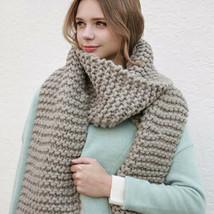 Women Wool Winter Scarf Warm Thick Knitted Wrap Shawls Handmade Autumn S... - $41.99
