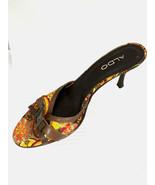 Aldo Womens 38 (7.5) Multicolor Fabric Kitty Heel Open Toe Shoe Made in ... - $26.57